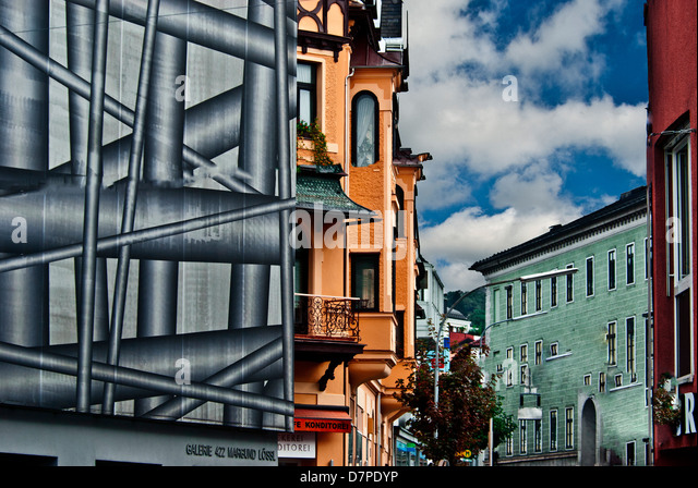 Building covered for renovation, Munich, Bavaria, Germany - Stock-Bilder