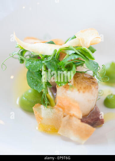 Pan Seared King Scallops with braised pigs cheek, garden pea puree and parsnip crisp. - Stock Image