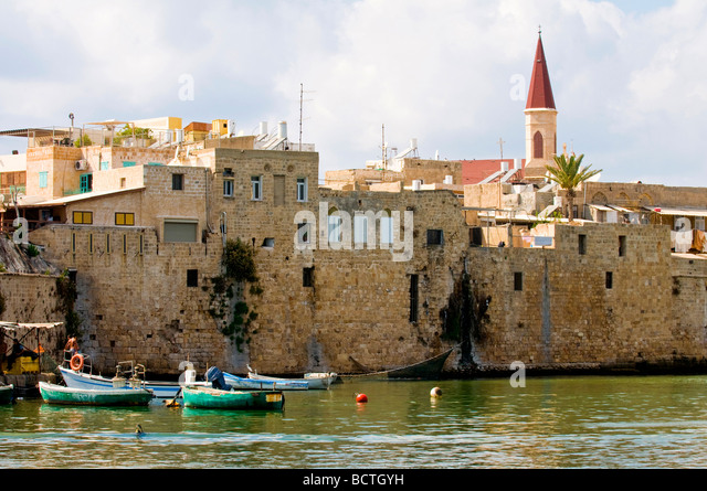 the Mediterranean historic city of Acre in north Israel - Stock Image