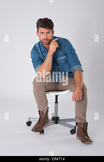 Feeling comfortable on this chair. Debica, Poland - Stock Image