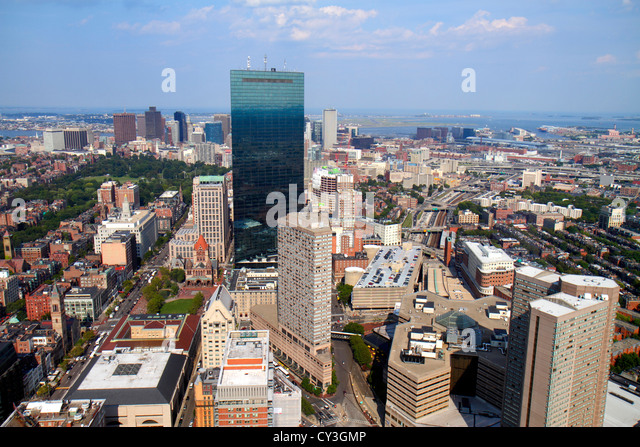 Boston Massachusetts Prudential Center Skywalk Observatory aerial panoramic view Hancock Place skyscraper Copley - Stock Image
