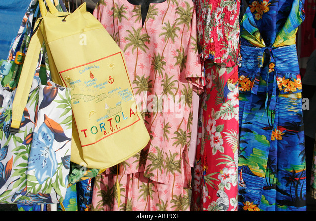 BVI Tortola Tent Village Road Town Cruise Port dresses for sale bags - Stock Image