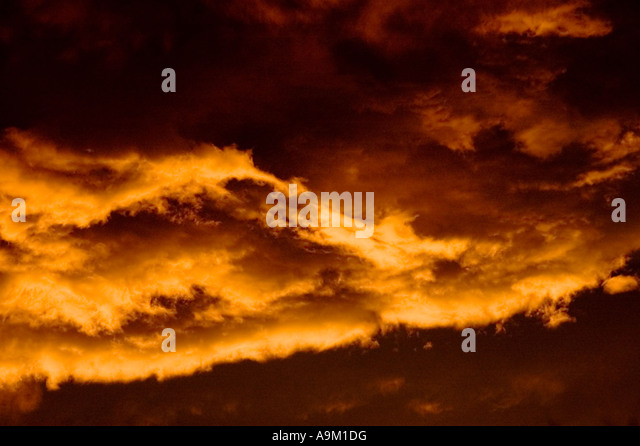 clouds at sunset with intense color - Stock Image