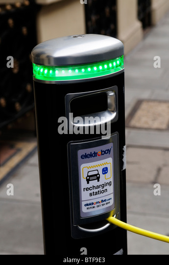 Elektrobay electric car recharging station outside the Royal Institution, Albemarle Street, Mayfair, London, England, - Stock Image