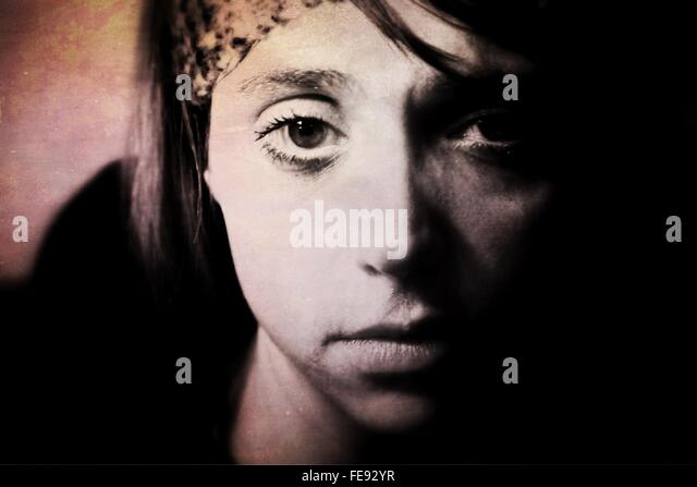 Portrait Of Depressed Woman - Stock Image