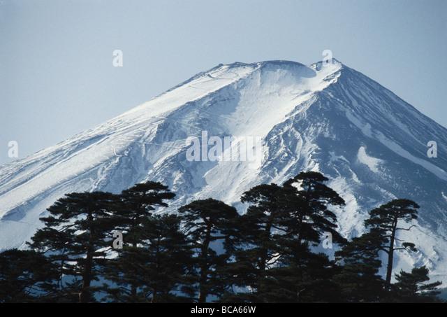 View of the Fujijama, Fujisan, Fuji, the highest mountain in Japan, Honshu, Japan - Stock Image