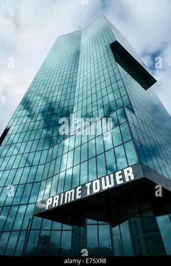 Prime Tower, at 126 meters the tallest building in Switzerland, Zurich, Canton of Zurich, Switzerland - Stock Image