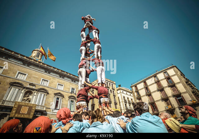 Barcelona, Spain. 24 September, 2017:  The 'Colla Jove de Barcelona' build one of their human towers during - Stock Image