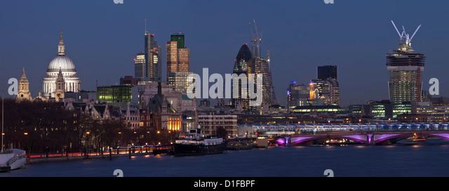 Panorama of the London Skyline from Waterloo Bridge, London, England - Stock Image