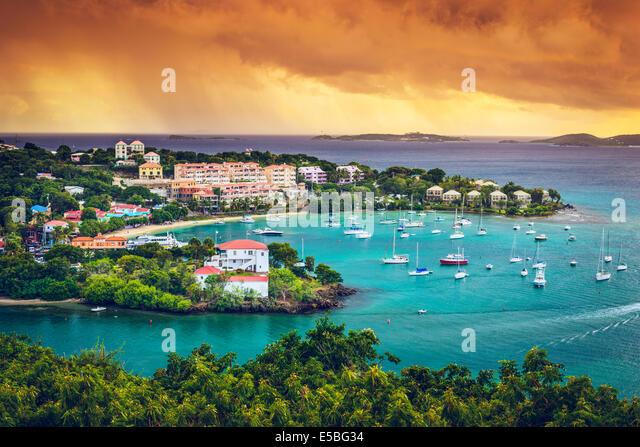 St. John, US Virgin Island at Cruz Bay. - Stock Image