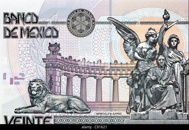 Mexico 20 Twenty Pesos Bank Note. - Stock Image