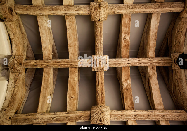 UK, Cornwall, Laneast, church of St Sidwell and St Gulval, porch, old oak roof structure - Stock Image
