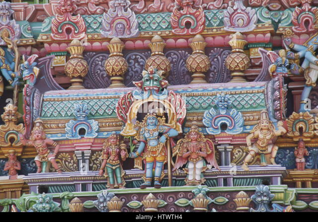Intricate sculptures at the Sri Ranganathaswamy temple, Srirangam. - Stock Image