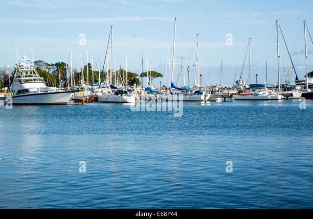 Hawaii Hawaiian Honolulu Kewalo Basin Harbor harbour boats yachts Pacific Ocean - Stock Image