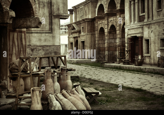 Ancient view of the roman buildings - Stock Image