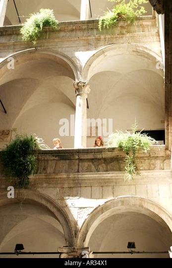 Interior of the historical Palazzo del Capitano .Ascoli Piceno Le Marche Italy - Stock Image