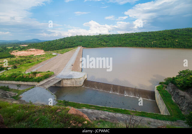 Dam water release,The excess capacity of the dam until spring-way overflows. - Stock Image