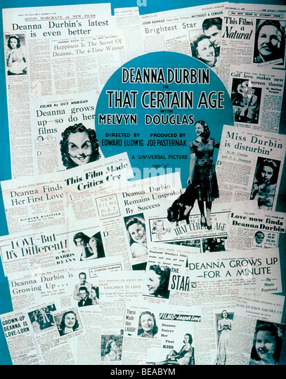 THAT CERTAIN AGE  - 1938 Universal film with Deanne Durbin - Stock Image