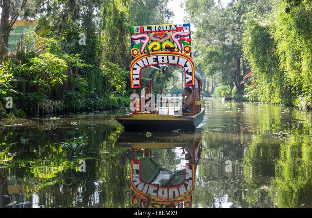 Mexico. Mexico City. Xochimilco. Boat on canal - Stock Image