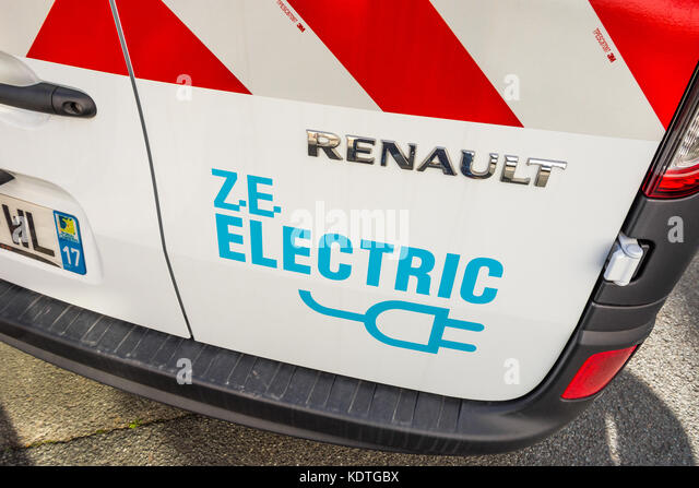 Electric powered Renault van, La Rochelle, France. - Stock Image