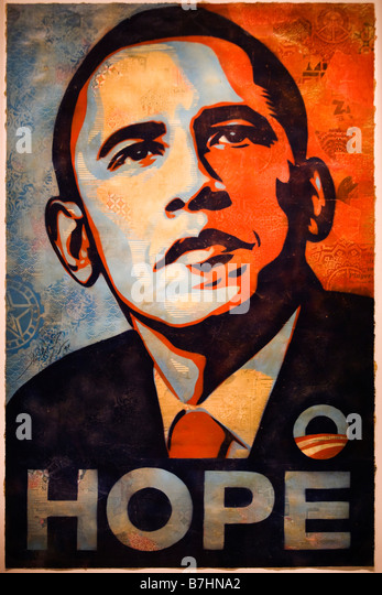Barack Obama  'Hope' portrait painting by Shepard Fairey - National Portrait Gallery, Washington, DC USA - Stock Image