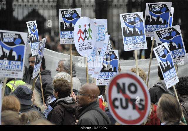 London, UK, 18th May, 2013. Thousands of demonstrators gather in central London today in response to the government's - Stock Image