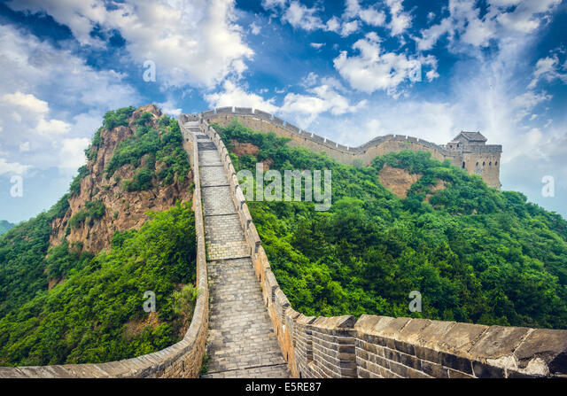 Great Wall of China. Unrestored sections at Jinshanling. - Stock Image