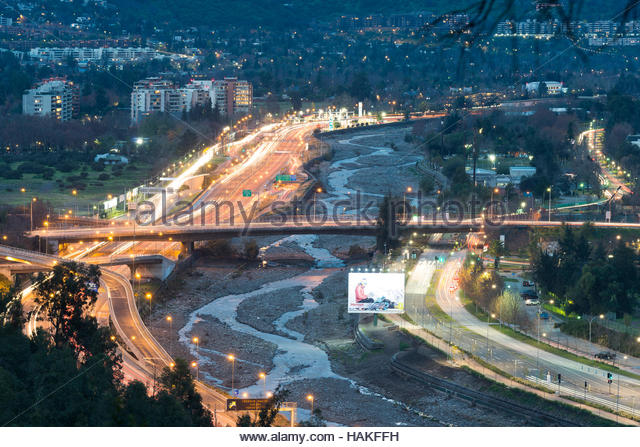 Mapocho River and Costanera Norte Expressway in District of Vitacura, Santiago de Chile, Chile - Stock Image