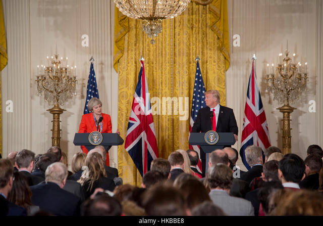Washington, DC, January 27, 2017, President Donald J. Trump, welcomes  Prime Minister  of the United Kingdom, Theresa - Stock-Bilder