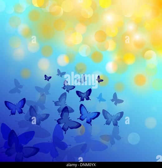 Abstract colourful background with butterflies. A vector. - Stock Image