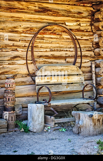 Carreteria (Wheelwright Shop), El Rancho de la Golondrinas, Los Pinos Road, Santa Fe, New Mexico - Stock Image