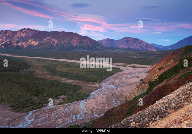 Sunrise on Polychrome Pass, Denali National Park, Alaska. - Stock Image