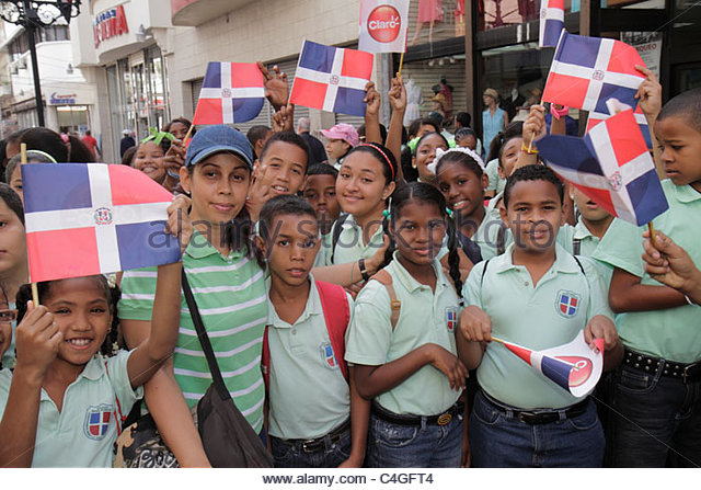Santo Domingo Dominican Republic Ciudad Colonia Calle el Conde Peatonal Hispanic student boy girl woman teacher - Stock Image
