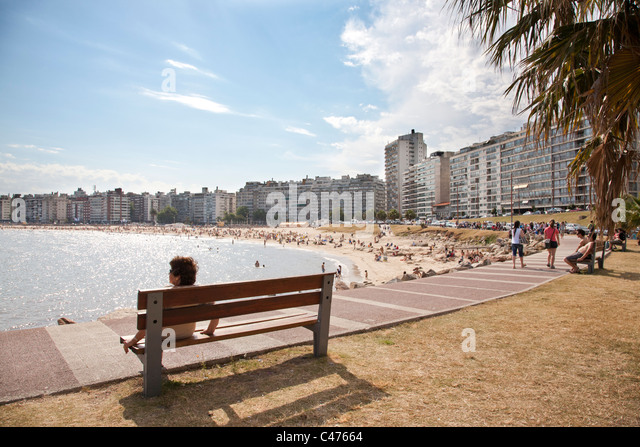 Playa Pocitos, City Beach, Montevideo, Uruguay. - Stock Image