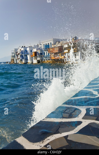 Little Venice waterfront, Mykonos (Hora), Cyclades Islands, Greece, Europe - Stock Image