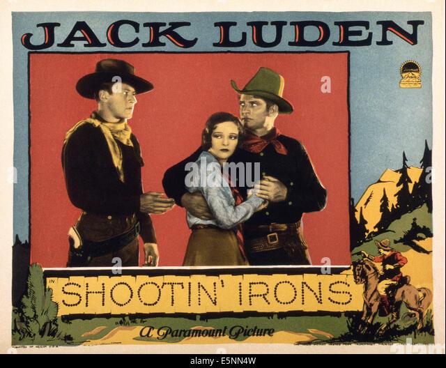 SHOOTIN' IRONS, US lobbycard, Jack Luden (left), Sally Blane (center), 1927 - Stock Image