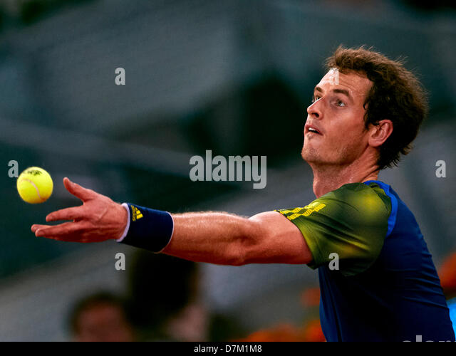 Madrid, Spain. 9th May 2013. Andy Murray of Great Britain serves the ball to Giles Simon of France during the game - Stock Image