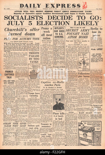1945 Daily Express front page reporting General Election Announced - Stock Image