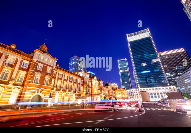 Tokyo, Japan cityscape at Tokyo Station in the Marunouchi district. - Stock Image