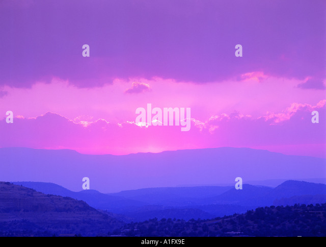 Sunset over Sedona Arizona - Stock Image