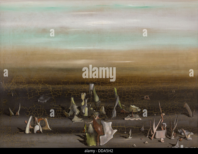 20th century  -  Nest of the Amphioxus - Yves Tanguy (1936) Philippe Sauvan-Magnet / Active Museum Oil on canvas - Stock Image