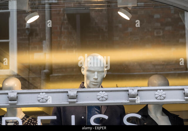 Shop window dummy peering over window frame Cambridge England - Stock Image