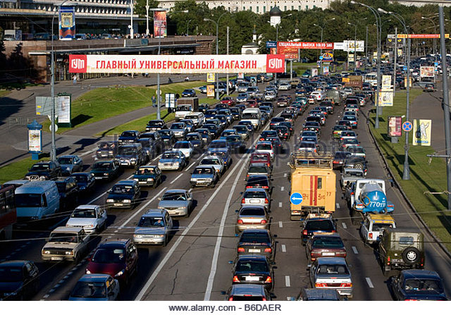 Russia, Moscow, Traffic jam. - Stock Image