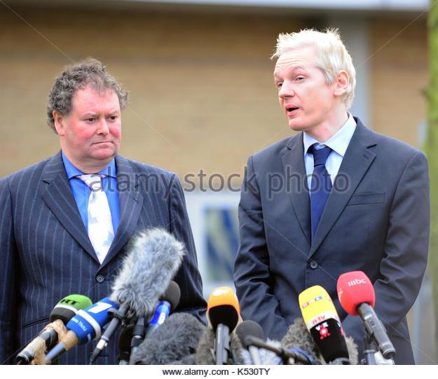 Julian Assange. After leaving Belmarsh Magistrates Court Julian Assange gave a public speech in front of the press, - Stock Image