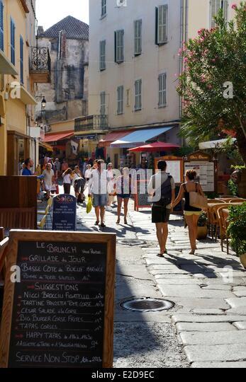 France, Haute Corse, Calvi, the rue Georges Clemenceau - Stock Image
