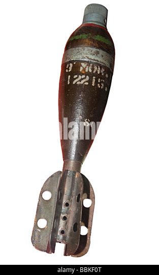 High explosive mortar bomb with fuse Second World War Europe - Stock Image