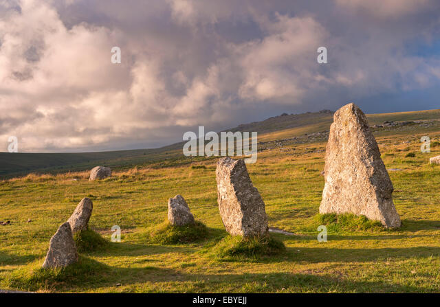 Megalithic standing stones, part of Merrivale stone row, Dartmoor, Devon, England. Summer (July) 2014. - Stock Image