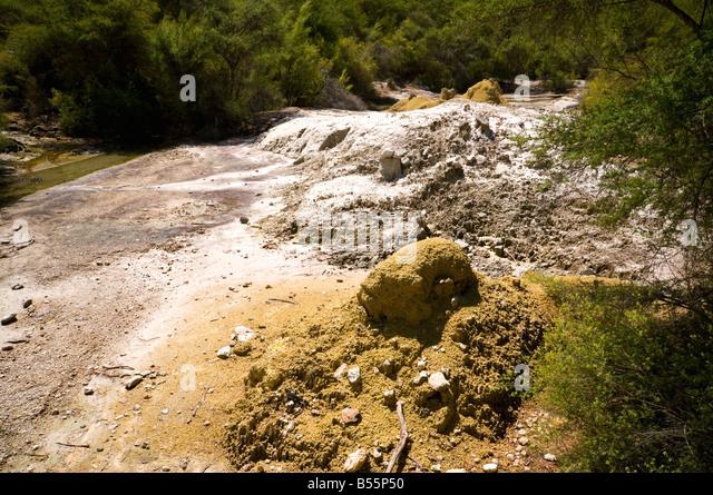 Sulphur deposits at the Wai-O-Tapu thermal area, near Rotorua, North Island, New Zealand - Stock Image