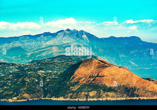 the sorrento peninsular in italy, with the lattari mountains in the background. - Stock Image