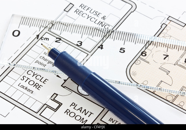 Still life photo of an exterior site drawing with pen and ruler - Stock-Bilder